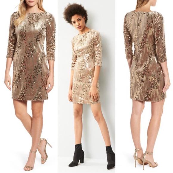 62b79c9e Eliza J Dresses & Skirts - Eliza J Sequin and Velvet Sheath Dress